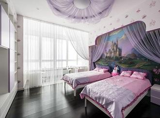 Дизайн спальни двух девочек