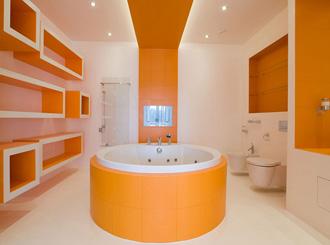 Фото оранжевой ванной комнаты