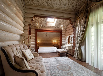 Фото дизайна интерьера спальни в загородном доме