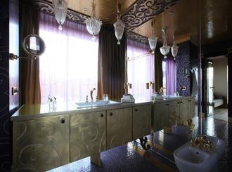 Фото фиолетовой ванной комнаты
