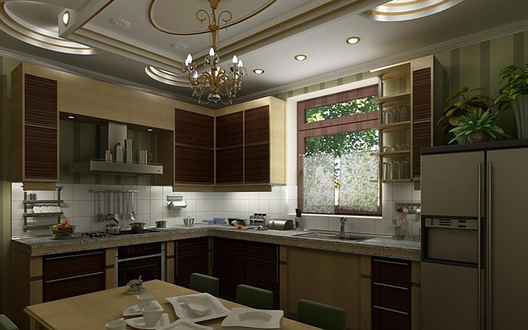 Фото № 9977 кухня  Загородный дом