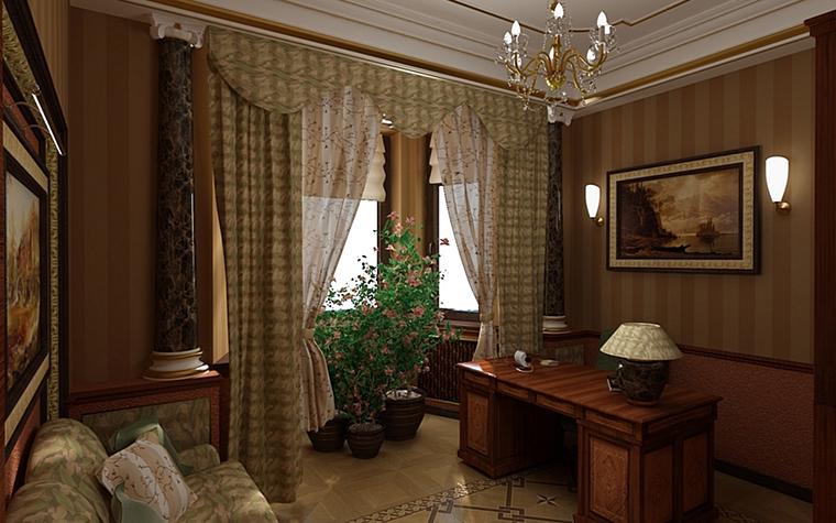Фото № 9972 кабинет библиотека  Загородный дом