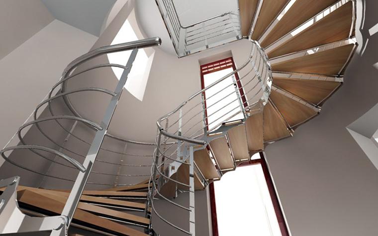 <p>Автор проекта:  Наталья Елисеева&nbsp;</p> <p>Винтовая лестница в стиле хай-тек сочетает металл, пластик и дерево. Разнородные материалы очень уместны для такой оригинальной конструкции.</p>