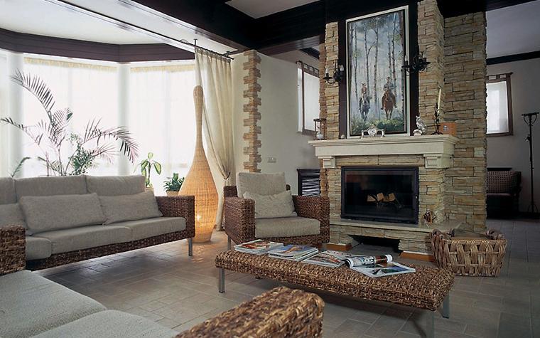 Загородный дом. гостиная из проекта , фото №3577