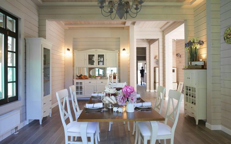 Загородный дом. столовая из проекта Дом из клееного бруса в стиле прованс, фото №80955