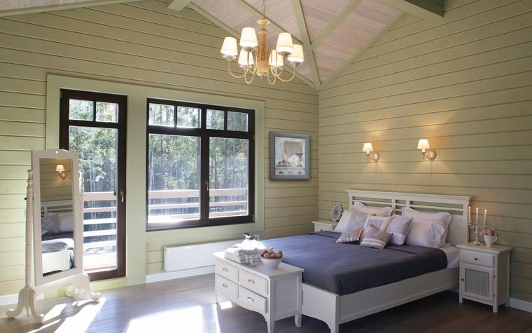 Загородный дом. спальня из проекта Дом из клееного бруса в стиле прованс, фото №80973