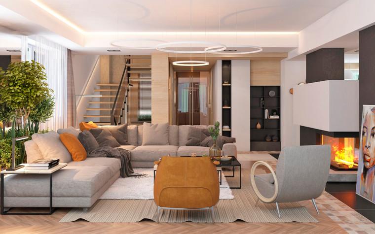 Загородный дом. гостиная из проекта Дизайн частного дома для супружеской пары, фото №89085