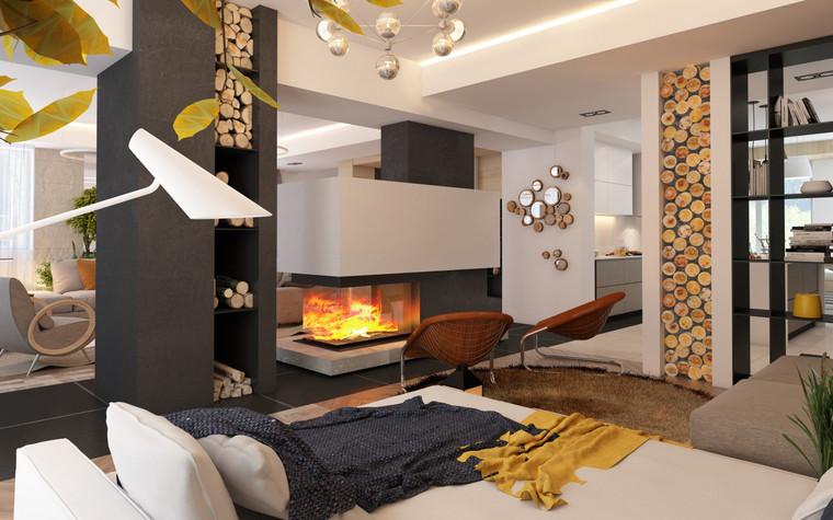 Загородный дом. гостиная из проекта Дизайн частного дома для супружеской пары, фото №89088