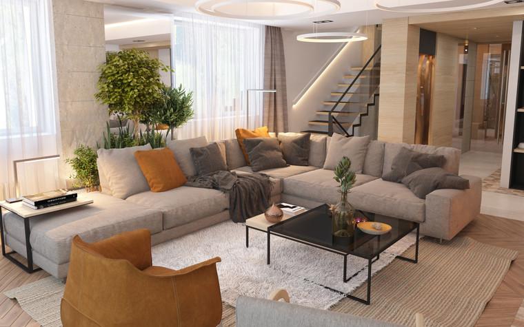 Загородный дом. гостиная из проекта Дизайн частного дома для супружеской пары, фото №89089