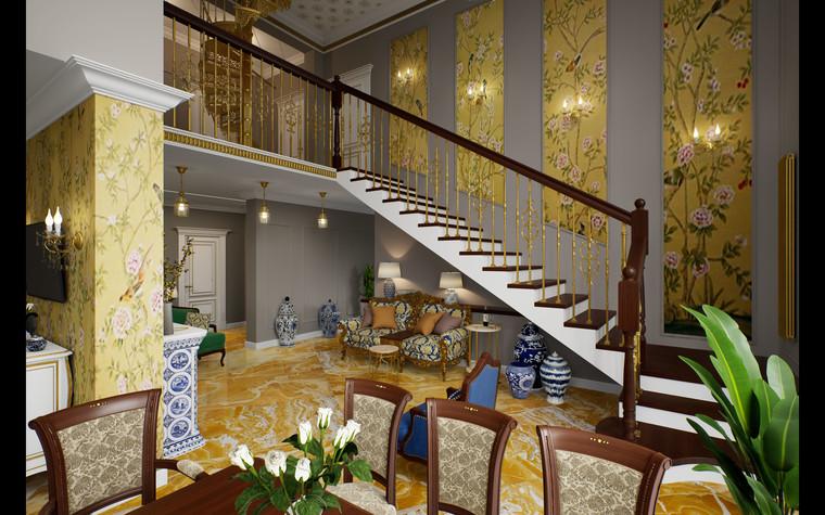 Загородный дом. гостиная из проекта Дом Шинуазри, фото №104234