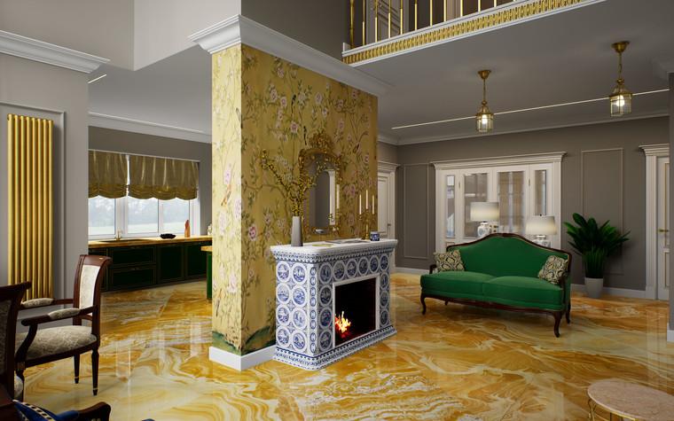 Загородный дом. гостиная из проекта Дом Шинуазри, фото №104231