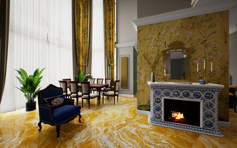 Загородный дом. гостиная из проекта Дом Шинуазри, фото №104232