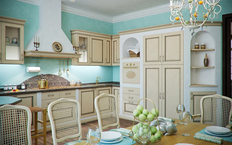 Фото № 14492 кухня  Загородный дом