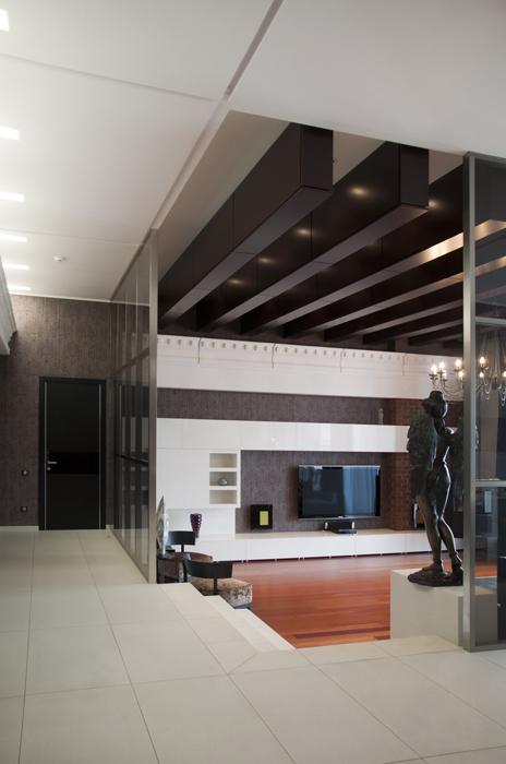 <p>Автор проекта: архитектурное бюро SNOU project.</p> <p>Холлы домов можно зонировать с помощью светопрозрачных конструкций. </p>