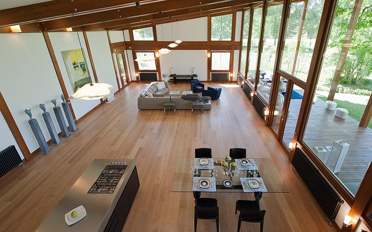 Дизайн кухни-гостиной на даче