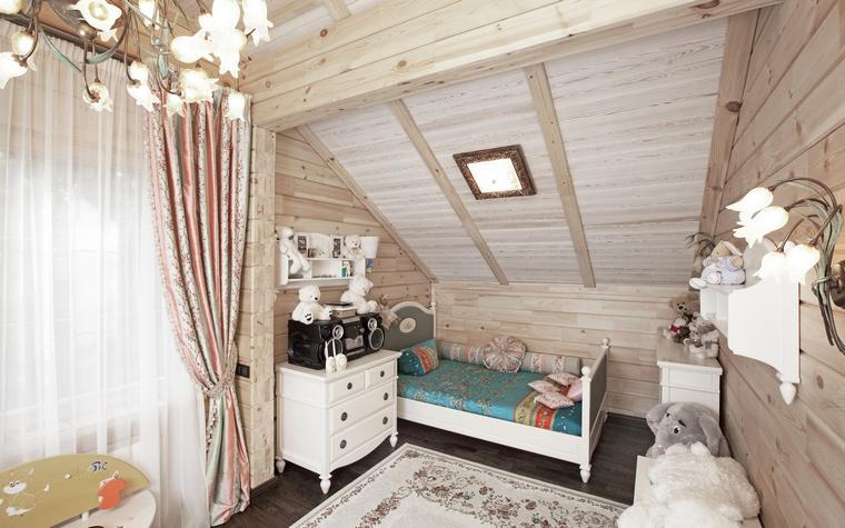<p>Автор проекта: Станислав Орехов</p> <p>Детская комната расположена на втором этаже загородного деревянного дома. Помещение находится под крышей, поэтому имеет скошенный потолок. Именно в это месте, где сложно было поставить из мебели что-то высокое, разместили спальную зону с кроватью и тумбочками. Поскольку весь интерьер выдержан в светлых тонах (светлое дерево стен и потолка, белая мебель, прозрачные драпировки, бежевый ковер), то комната выглядит пространственной и воздушной!</p>