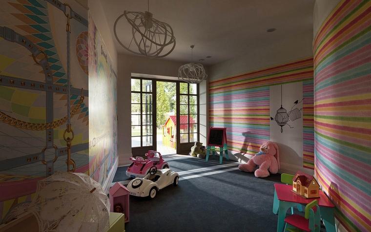 <p>Автор проекта: SBM studio SBM studio</p> <p>Ковролин в детской комнате - это классика. Часто там используют цветные и рисуночные варианты, чтобы получить готовое место для детских игр. В данном случае, дизайнеры сделали расписные полосатые стены, а ковролин на полу решили выбрать однотонным, серого цвета с двойной белой полосой.</p>