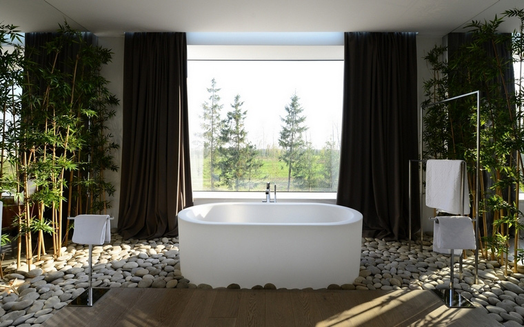 <p>Автор проекта: SL project<br /> Фотограф: Илья Иванов</p> <p>Галька в ванной комнате -&nbsp; очень экологично и правильно, особенно если ванная комната находится в загородном доме</p>