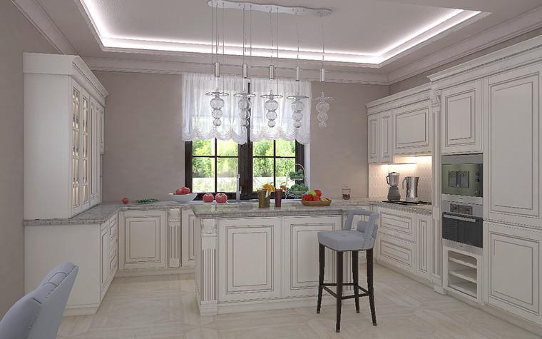 Загородный дом. кухня из проекта Дизайн проект дома площадь 500 кв.м в Ленинградской области., фото №78573