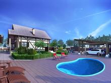 Загородный дом «Коттедж в КП Алексеевка (экстерьер)», бассейн  . Фото № 26482, автор Студия Rahat-House Ник и Христина