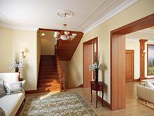 Загородный дом «Дизайн загородного дома в д. Хлопово Родовое гнездо 800 кв.м.», холл . Фото № 27034, автор Соболев Павел
