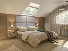 Спальня в мансарде загородного дома (г. Выборг), фото № 7442, Ефремова Татьяна