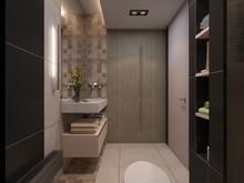 Загородный дом «Дизайн частного дома для супружеской пары», ванная . Фото № 27945, автор Сытник Евгения