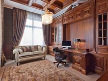 Загородный дом «Дом в поселке Монолит», кабинет . Фото № 29844, автор Мишакова Надежда