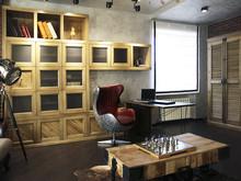Загородный дом «Кабинет в стиле Лофт», кабинет . Фото № 30654, автор Interior-3D Artur Nikitin