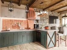 Загородный дом «Загородный дом в стиле рустик», кухня . Фото № 30721, автор Корпан Ксения