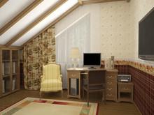 Загородный дом «Дом в стиле шале», кабинет . Фото № 31160, автор ТАНДЕМ+ Студия Интерьера