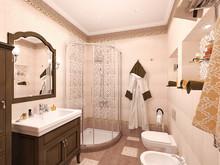 Загородный дом «Дом в стиле шале», ванная . Фото № 31158, автор ТАНДЕМ+ Студия Интерьера