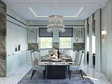 Загородный дом «Особняк в стиле американская классика.», столовая . Фото № 31771, автор Дизайн-бюро  «Лепина и Орлова»