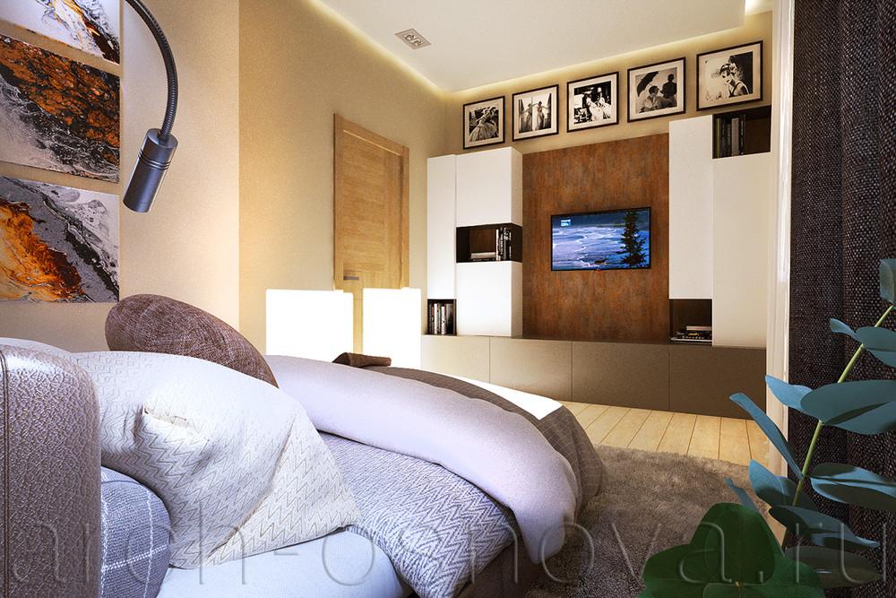 Загородный дом «Элегантный интерьер дома в стиле Шале», спальня, фото из проекта