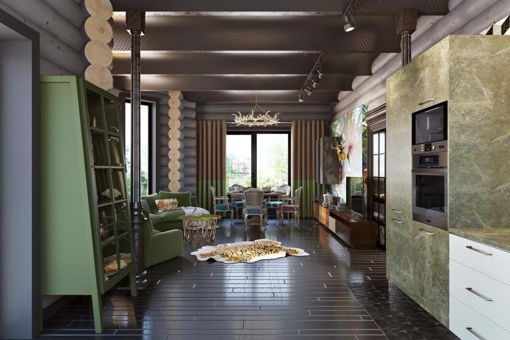 Загородный дом «ИЗБА», гостиная, фото из проекта
