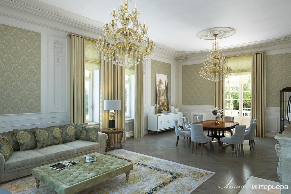 Загородный дом «Интерьер дома в КП Троицкий Парк Булатниково», гостиная, фото из проекта