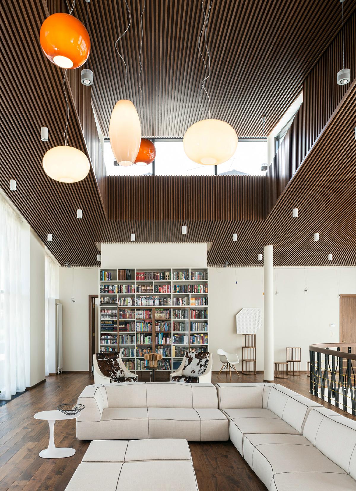 Загородный дом «», библиотека, фото из проекта