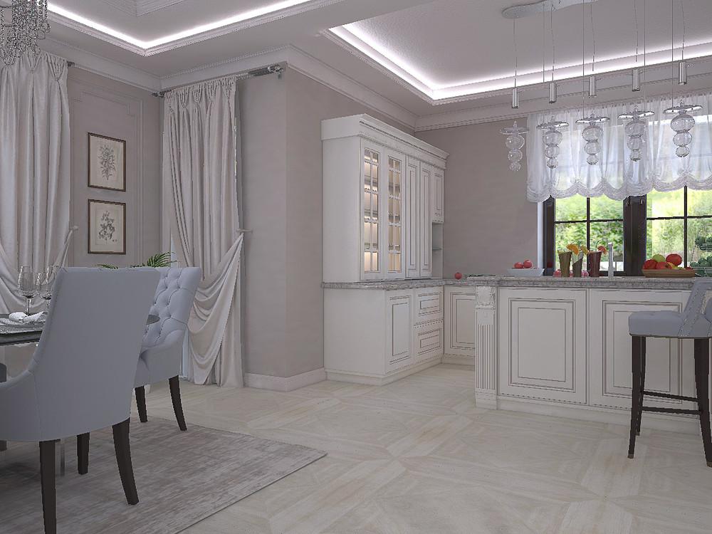 Загородный дом «Дизайн проект дома площадь 500 кв.м в Ленинградской области.», кухня, фото из проекта