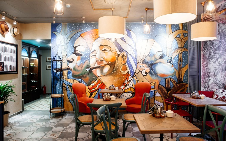 Кафе. Кафе из проекта Кафе-сигарный лаунж «Куба» на Кузнечном переулке, фото №98834
