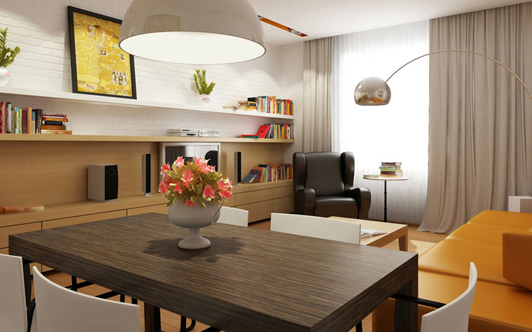Квартира. гостиная из проекта , фото №8575