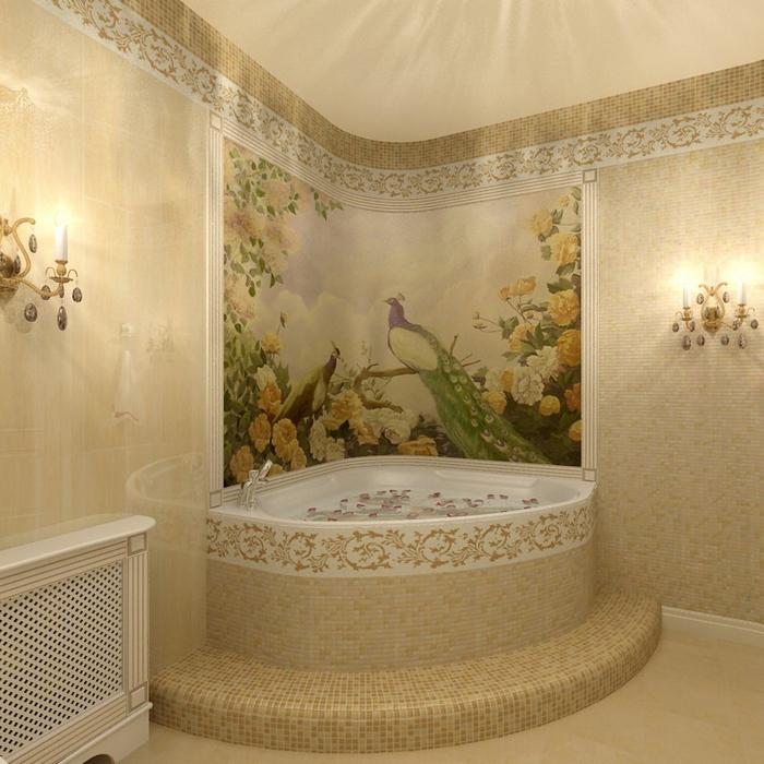 <p>Автор проекта: Елена Еловик&nbsp;</p> <p>Живописные композиции, выполненные в технике фрески, не боятся влаги и перепадов температур, что позволяет использовать их в ванной комнате.</p>