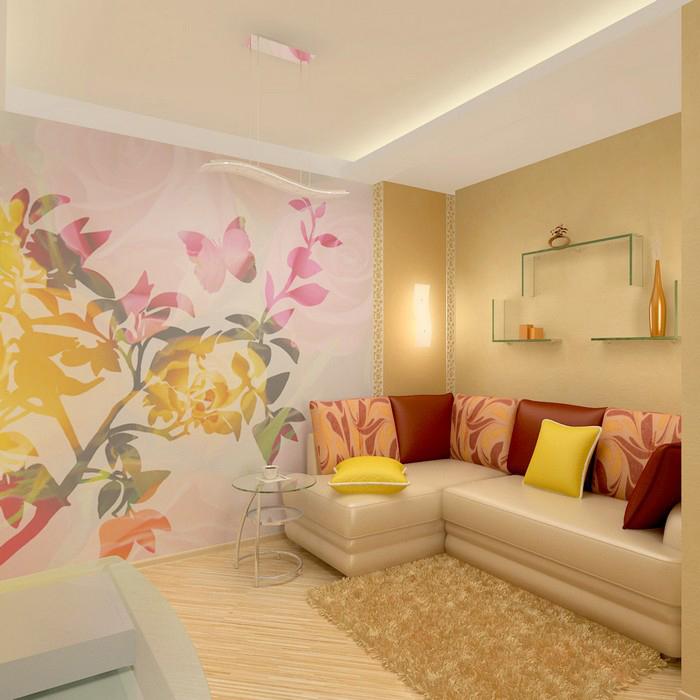 <p>Автор проекта: Елена Еловик &nbsp;</p> <p>Крупноформатная цветочная роспись поддерживает нежную колористическую гамму современной гостиной.</p>