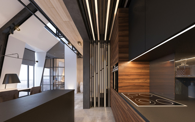 Квартира. кухня из проекта Квартира для творческий и позитивных людей., фото №79916