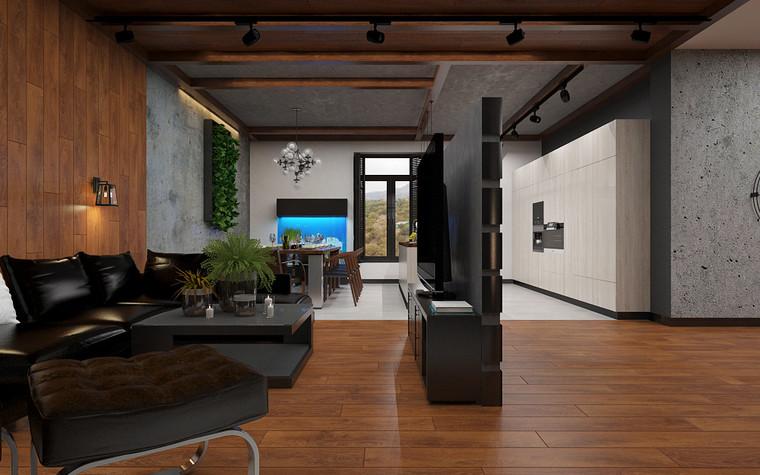 Квартира. гостиная из проекта Дом в стиле лофт, фото №80624