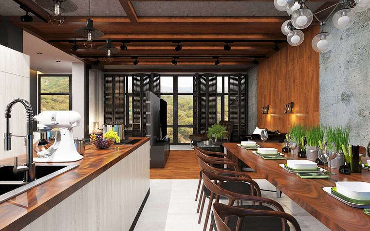 Квартира. кухня из проекта Дом в стиле лофт, фото №80632