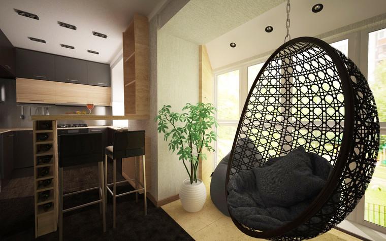 Квартира. гостиная из проекта Однокомнатная квартира, фото №81278