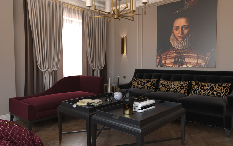 Квартира. гостиная из проекта По следам Возрождения, фото №91840