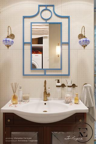 Квартира. ванная из проекта Восток и Средиземноморье в ЖК Мишино, фото №93851