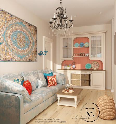 Квартира. гостиная из проекта Восток и Средиземноморье в ЖК Мишино, фото №93861