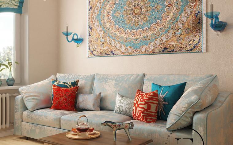 Квартира. гостиная из проекта Восток и Средиземноморье в ЖК Мишино, фото №93862
